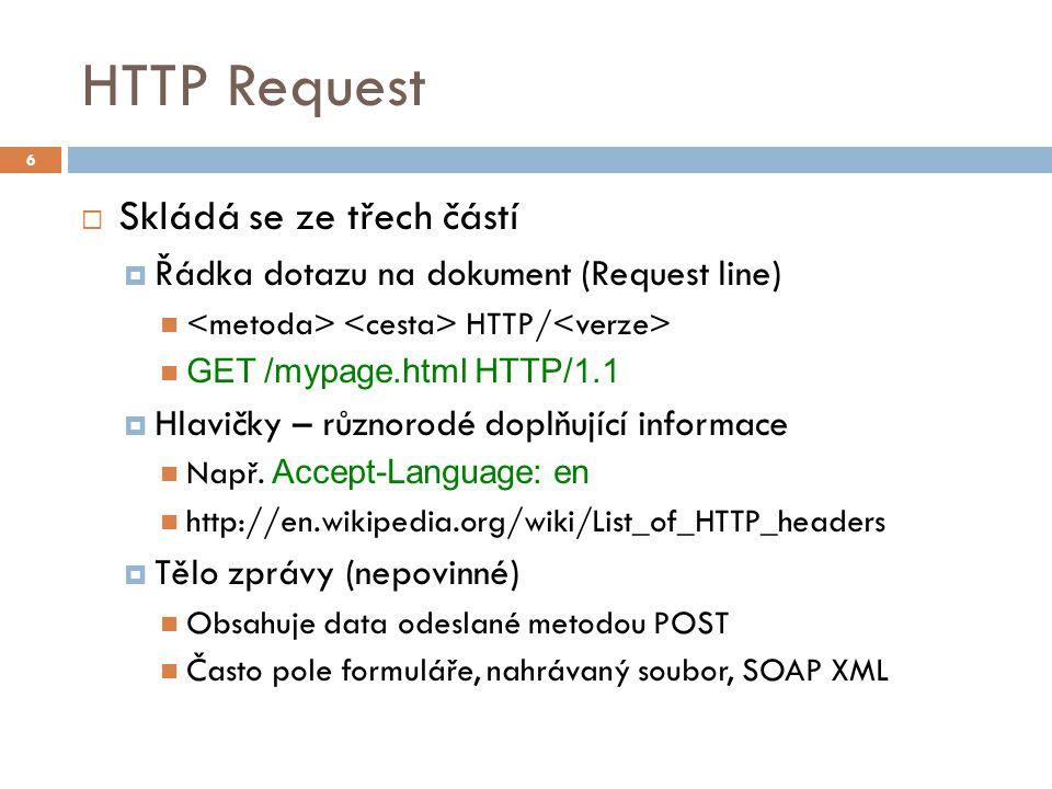 HTTP Request  Skládá se ze třech částí  Řádka dotazu na dokument (Request line) HTTP/ GET /mypage.html HTTP/1.1  Hlavičky – různorodé doplňující informace Např.