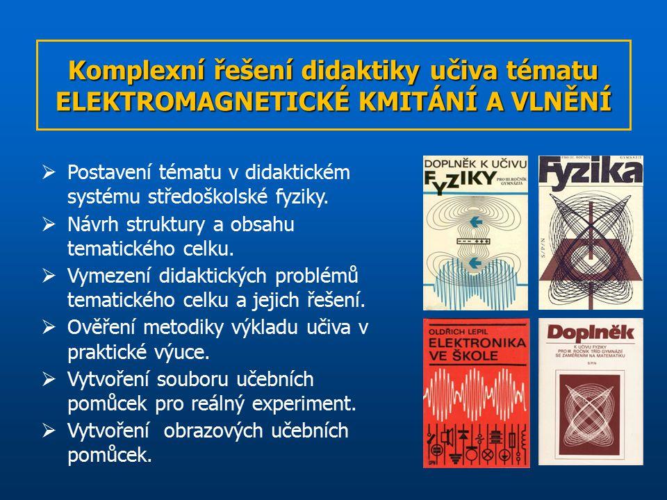 Komplexní řešení didaktiky učiva tématu ELEKTROMAGNETICKÉ KMITÁNÍ A VLNĚNÍ  Postavení tématu v didaktickém systému středoškolské fyziky.
