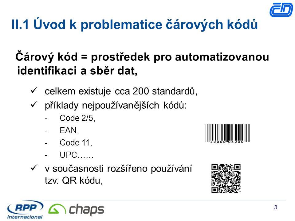 3 Čárový kód = prostředek pro automatizovanou identifikaci a sběr dat, celkem existuje cca 200 standardů, příklady nejpoužívanějších kódů: -Code 2/5,