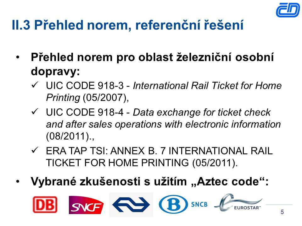5 II.3 Přehled norem, referenční řešení Přehled norem pro oblast železniční osobní dopravy: UIC CODE 918-3 - International Rail Ticket for Home Printi