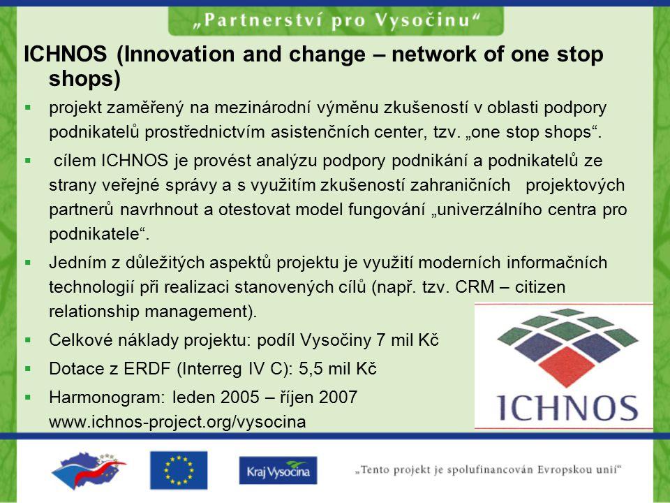 ICHNOS (Innovation and change – network of one stop shops)  projekt zaměřený na mezinárodní výměnu zkušeností v oblasti podpory podnikatelů prostředn