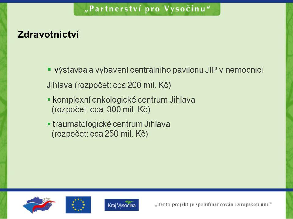 Zdravotnictví  výstavba a vybavení centrálního pavilonu JIP v nemocnici Jihlava (rozpočet: cca 200 mil. Kč)  komplexní onkologické centrum Jihlava (