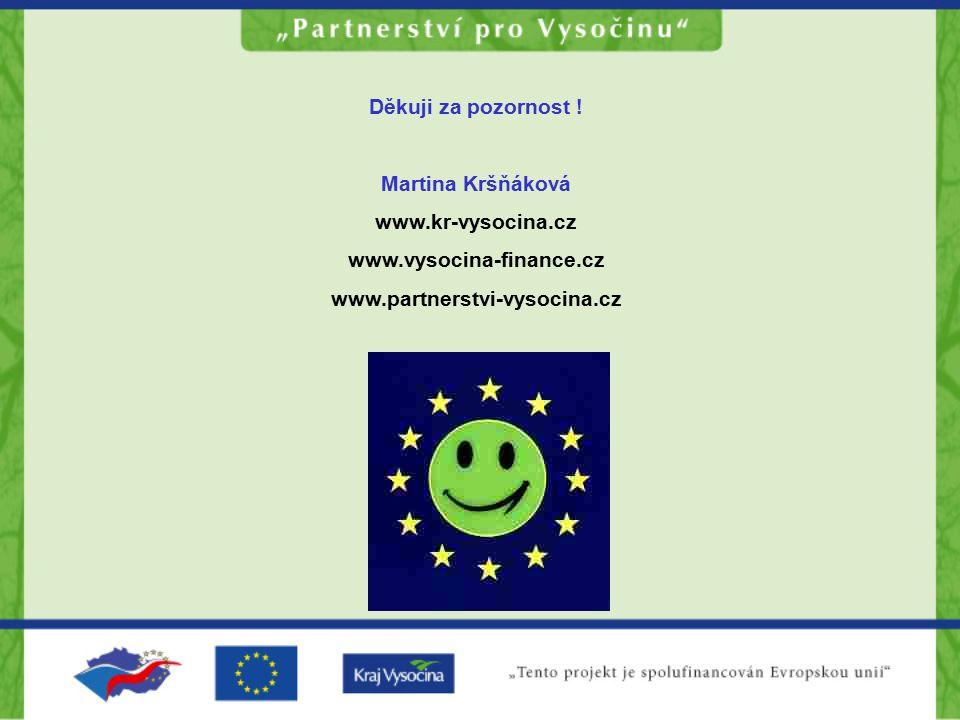 Děkuji za pozornost ! Martina Kršňáková www.kr-vysocina.cz www.vysocina-finance.cz www.partnerstvi-vysocina.cz