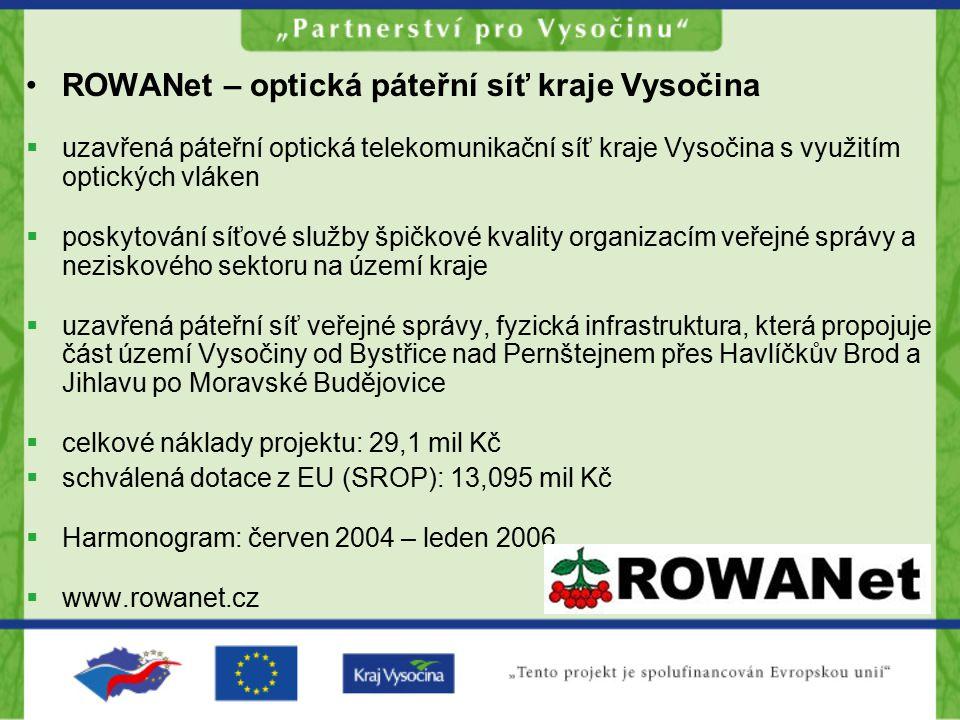 ROWANet – optická páteřní síť kraje Vysočina  uzavřená páteřní optická telekomunikační síť kraje Vysočina s využitím optických vláken  poskytování s