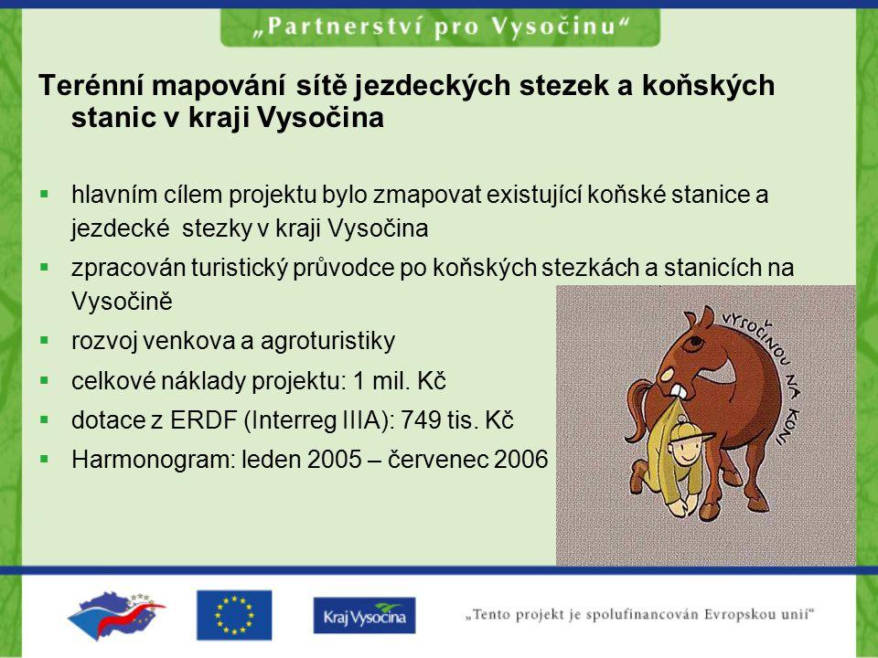 Terénní mapování sítě jezdeckých stezek a koňských stanic v kraji Vysočina  hlavním cílem projektu bylo zmapovat existující koňské stanice a jezdecké