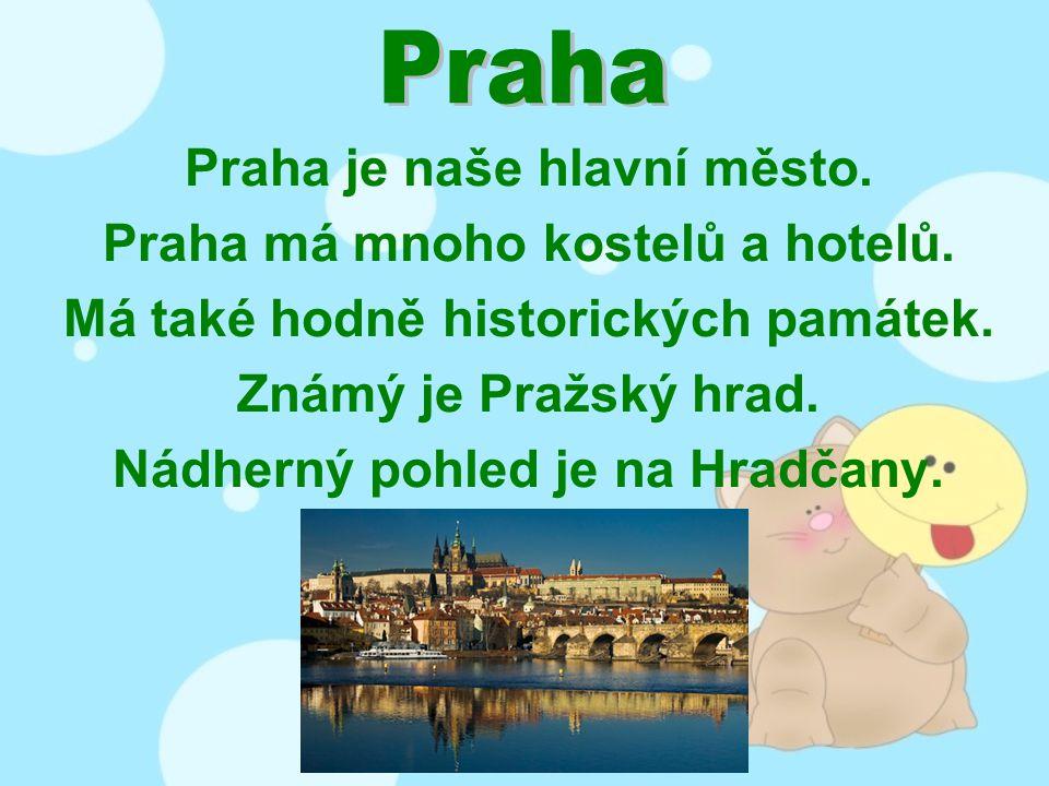 Praha je naše hlavní město. Praha má mnoho kostelů a hotelů.
