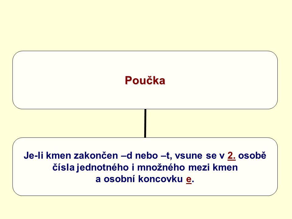 Poučka Je-li kmen zakončen –d nebo –t, vsune se v 2. osobě čísla jednotného i množného mezi kmen a osobní koncovku e.