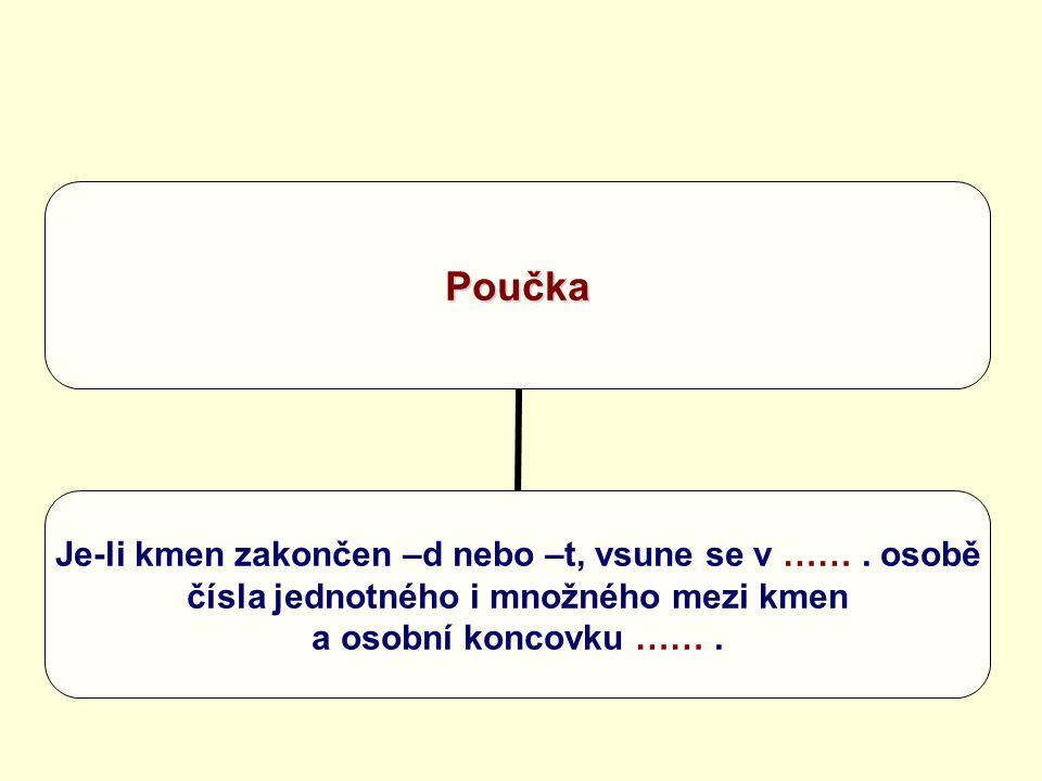 Poučka Je-li kmen zakončen –d nebo –t, vsune se v ……. osobě čísla jednotného i množného mezi kmen a osobní koncovku …….