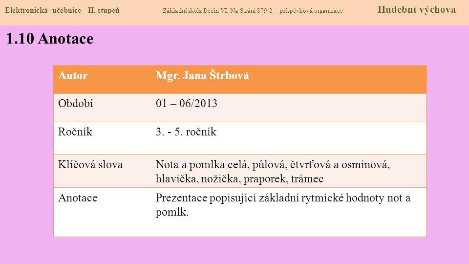 Elektronická učebnice - II. stupeň Základní škola Děčín VI, Na Stráni 879/2 – příspěvková organizace Hudební výchova 1.10 Anotace AutorMgr. Jana Štrbo