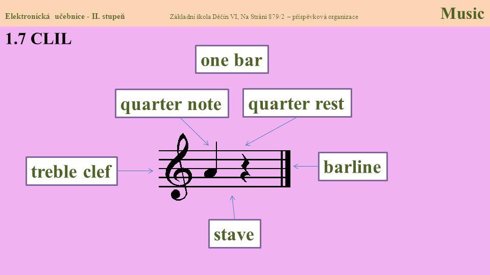 1.7 CLIL Elektronická učebnice - II. stupeň Základní škola Děčín VI, Na Stráni 879/2 – příspěvková organizace Music barline quarter rest quarter note