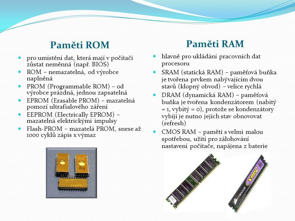 Paměti ROM Paměti RAM pro umístění dat, která mají v počítači zůstat neměnná (např. BIOS) ROM – nemazatelná, od výrobce naplněná PROM (Programmable RO