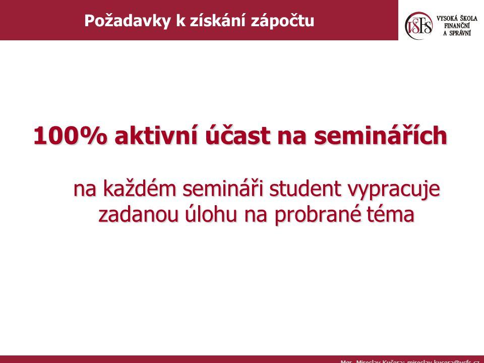 Mgr. Miroslav Kučera; miroslav.kucera@vsfs.cz Požadavky k získání zápočtu 100% aktivní účast na seminářích na každém semináři student vypracuje zadano