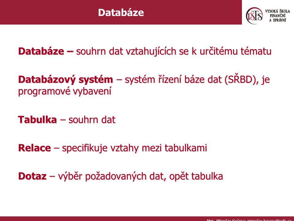 Databáze – souhrn dat vztahujících se k určitému tématu Databázový systém – systém řízení báze dat (SŘBD), je programové vybavení Tabulka – souhrn dat