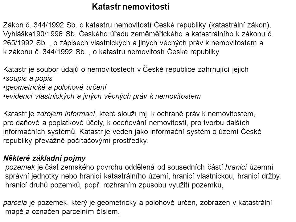 Katastr nemovitostí Zákon č. 344/1992 Sb.