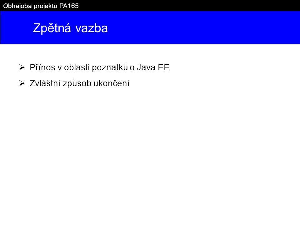 Zpětná vazba Obhajoba projektu PA165  Přínos v oblasti poznatků o Java EE  Zvláštní způsob ukončení