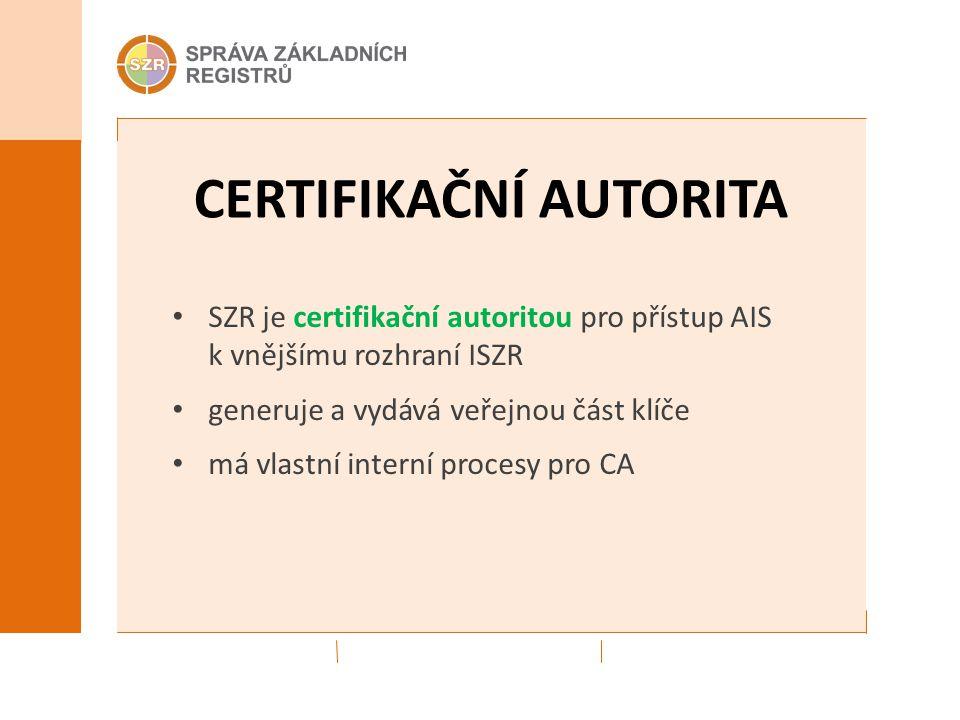 CERTIFIKAČNÍ AUTORITA SZR je certifikační autoritou pro přístup AIS k vnějšímu rozhraní ISZR generuje a vydává veřejnou část klíče má vlastní interní procesy pro CA