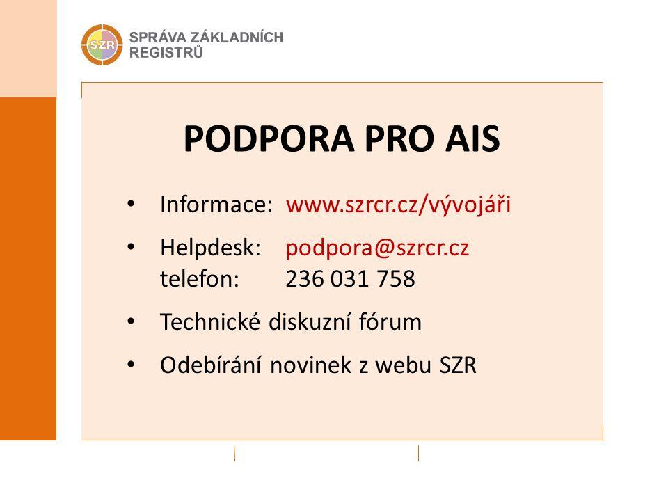 PODPORA PRO AIS Informace: www.szrcr.cz/vývojáři Helpdesk: podpora@szrcr.cz telefon: 236 031 758 Technické diskuzní fórum Odebírání novinek z webu SZR