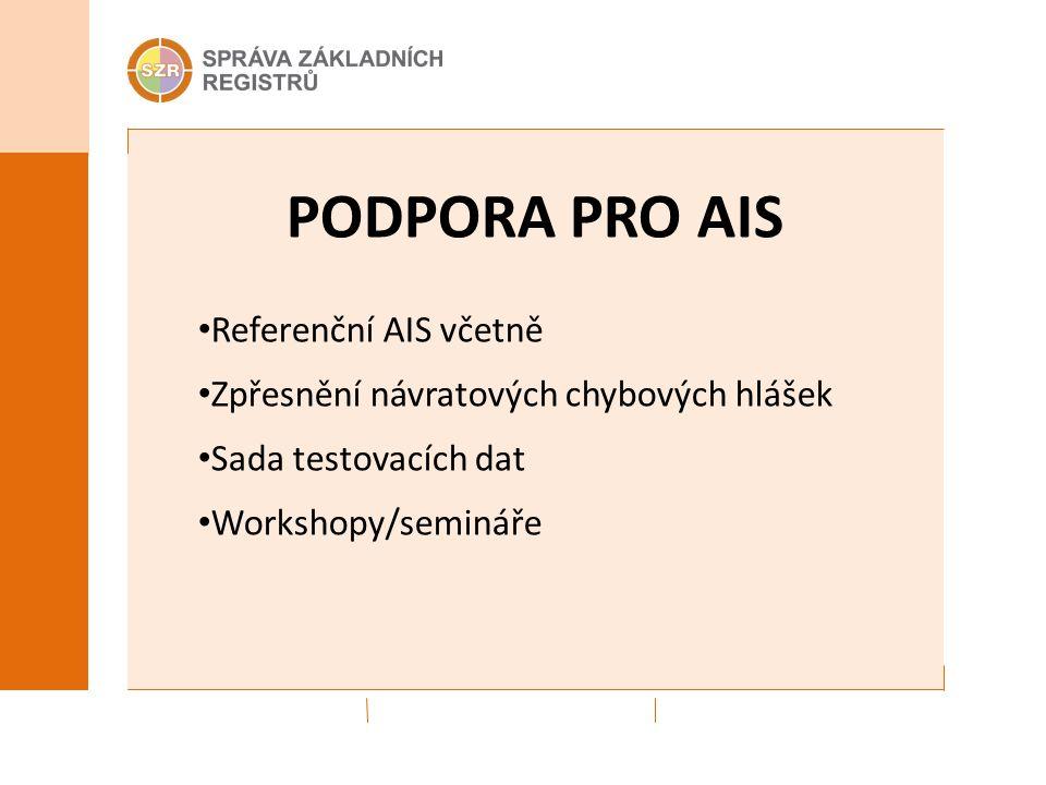 PODPORA PRO AIS Referenční AIS včetně Zpřesnění návratových chybových hlášek Sada testovacích dat Workshopy/semináře