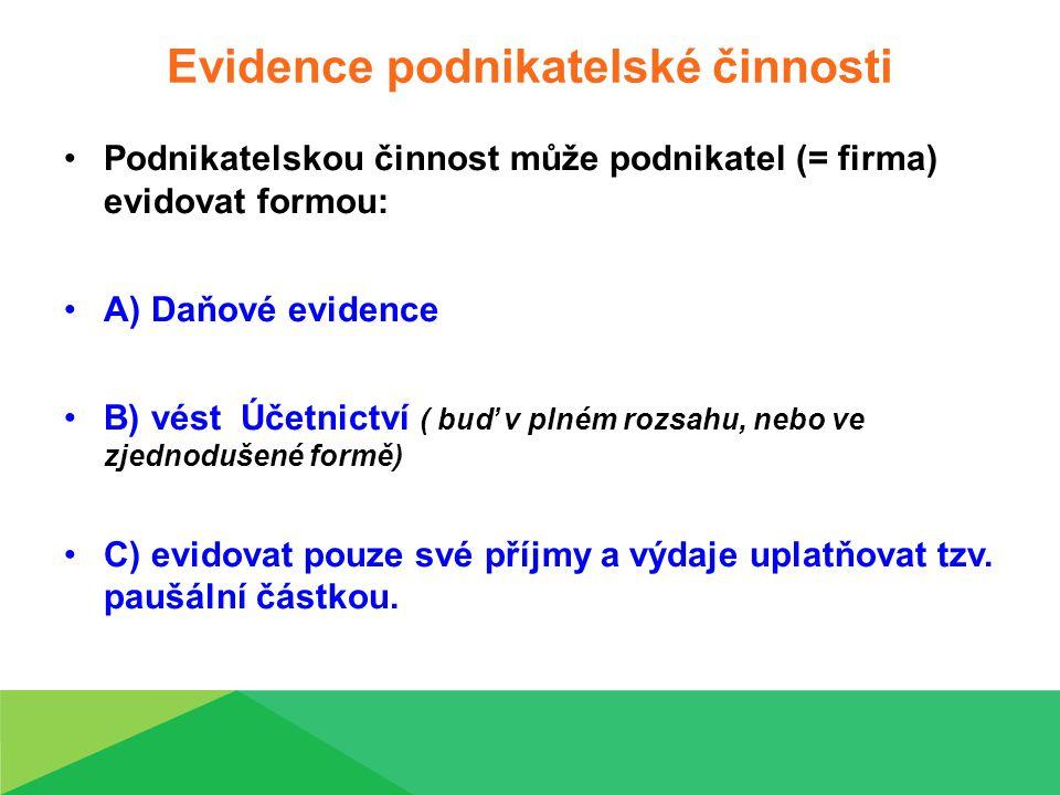 Evidence podnikatelské činnosti Podnikatelskou činnost může podnikatel (= firma) evidovat formou: A) Daňové evidence B) vést Účetnictví ( buď v plném rozsahu, nebo ve zjednodušené formě) C) evidovat pouze své příjmy a výdaje uplatňovat tzv.