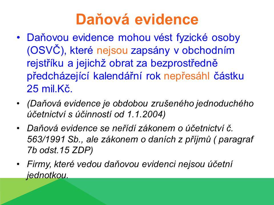 Charakteristika daňové evidence Daňová evidence slouží zejména ke stanovení správné výše základu daně z příjmu a následně k výpočtu daně z příjmů fyzických osob.