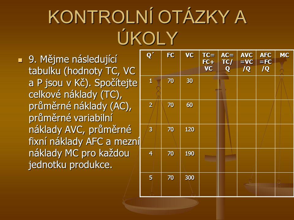 KONTROLNÍ OTÁZKY A ÚKOLY 9.Mějme následující tabulku (hodnoty TC, VC a P jsou v Kč).