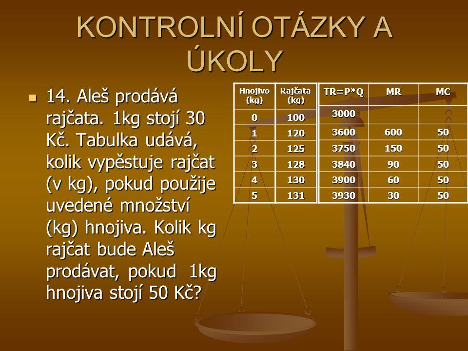 KONTROLNÍ OTÁZKY A ÚKOLY 14. Aleš prodává rajčata. 1kg stojí 30 Kč. Tabulka udává, kolik vypěstuje rajčat (v kg), pokud použije uvedené množství (kg)