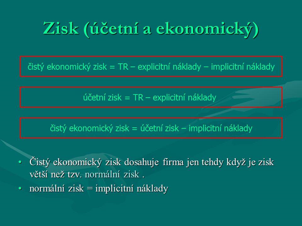Zisk (účetní a ekonomický) Čistý ekonomický zisk dosahuje firma jen tehdy když je zisk větší než tzv. normální zisk.Čistý ekonomický zisk dosahuje fir