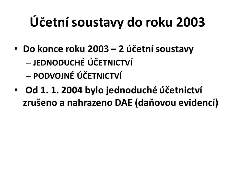 Účetní soustavy do roku 2003 Do konce roku 2003 – 2 účetní soustavy – JEDNODUCHÉ ÚČETNICTVÍ – PODVOJNÉ ÚČETNICTVÍ Od 1. 1. 2004 bylo jednoduché účetni