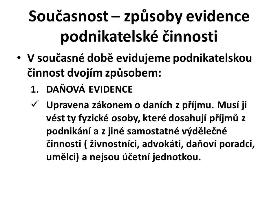 Současnost – způsoby evidence podnikatelské činnosti 2.