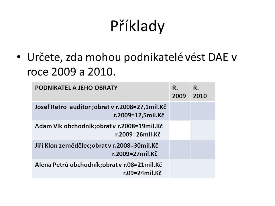 Příklady Určete, zda mohou podnikatelé vést DAE v roce 2009 a 2010. PODNIKATEL A JEHO OBRATYR. 2009 R. 2010 Josef Retro auditor ;obrat v r.2008=27,1mi
