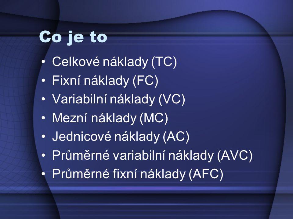 Co je to Celkové náklady (TC) Fixní náklady (FC) Variabilní náklady (VC) Mezní náklady (MC) Jednicové náklady (AC) Průměrné variabilní náklady (AVC) Průměrné fixní náklady (AFC)