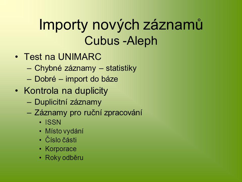 Importy nových záznamů Cubus -Aleph Test na UNIMARC –Chybné záznamy – statistiky –Dobré – import do báze Kontrola na duplicity –Duplicitní záznamy –Záznamy pro ruční zpracování ISSN Místo vydání Číslo části Korporace Roky odběru