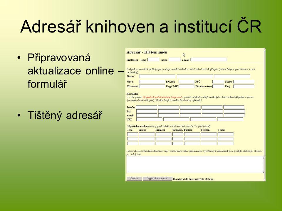 Adresář knihoven a institucí ČR Připravovaná aktualizace online – formulář Tištěný adresář