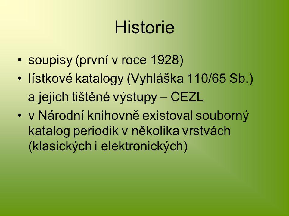 Historie soupisy (první v roce 1928) lístkové katalogy (Vyhláška 110/65 Sb.) a jejich tištěné výstupy – CEZL v Národní knihovně existoval souborný katalog periodik v několika vrstvách (klasických i elektronických)