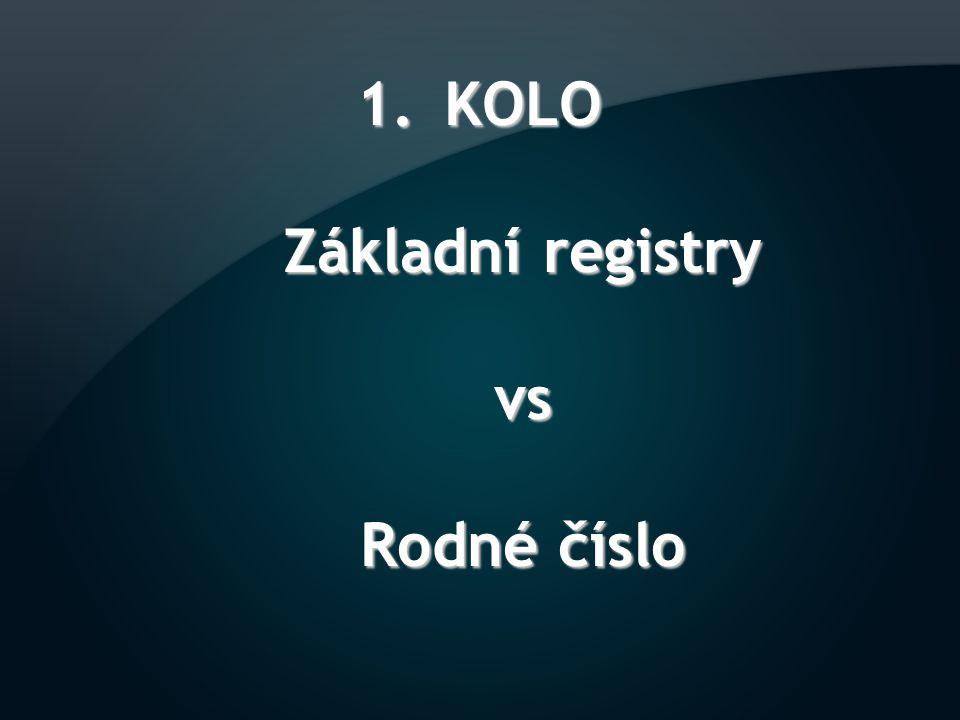 1.KOLO Základní registry vs Rodné číslo