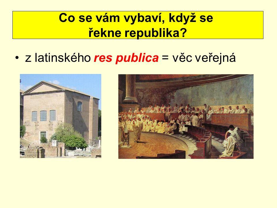 z latinského res publica = věc veřejná Co se vám vybaví, když se řekne republika