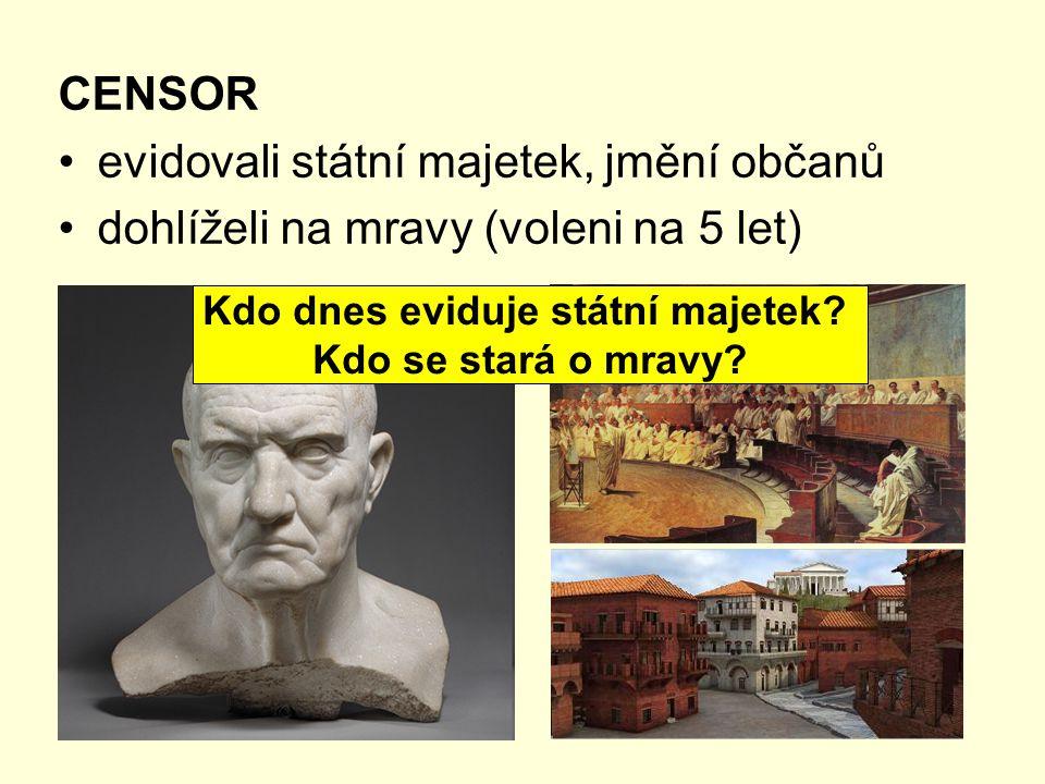 CENSOR evidovali státní majetek, jmění občanů dohlíželi na mravy (voleni na 5 let) Kdo dnes eviduje státní majetek.