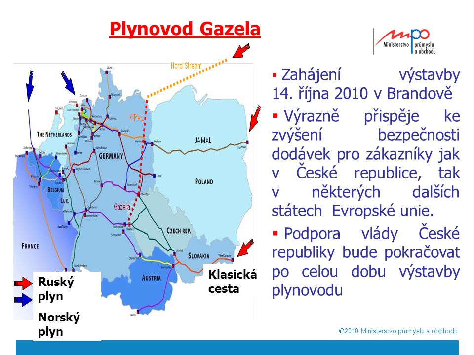  2010  Ministerstvo průmyslu a obchodu Plynovod Gazela  Zahájení výstavby 14. října 2010 v Brandově  Výrazně přispěje ke zvýšení bezpečnosti dodá
