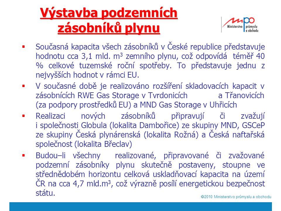  2010  Ministerstvo průmyslu a obchodu Výstavba podzemních zásobníků plynu  Současná kapacita všech zásobníků v České republice představuje hodnotu cca 3,1 mld.