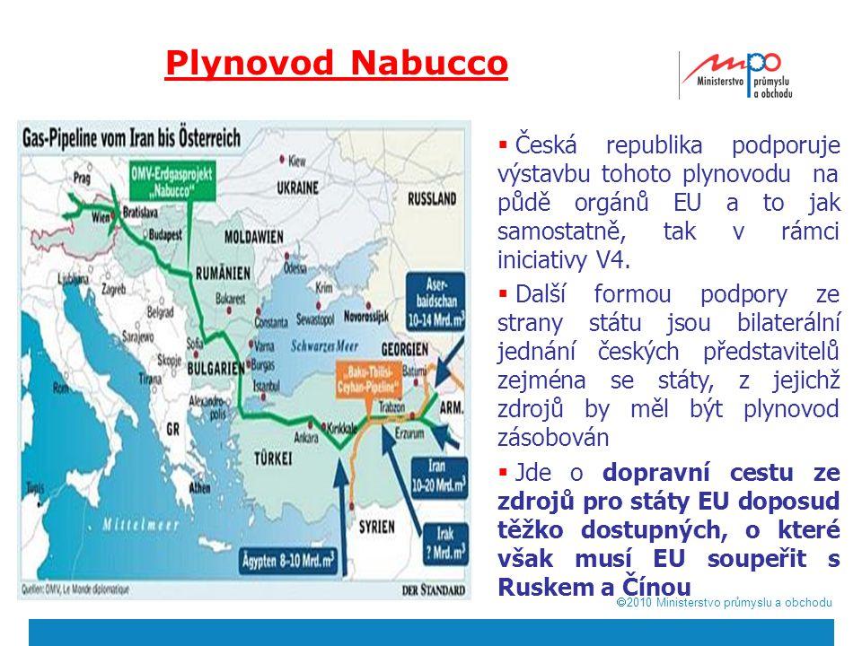  2010  Ministerstvo průmyslu a obchodu Plynovod Nabucco  Česká republika podporuje výstavbu tohoto plynovodu na půdě orgánů EU a to jak samostatně, tak v rámci iniciativy V4.