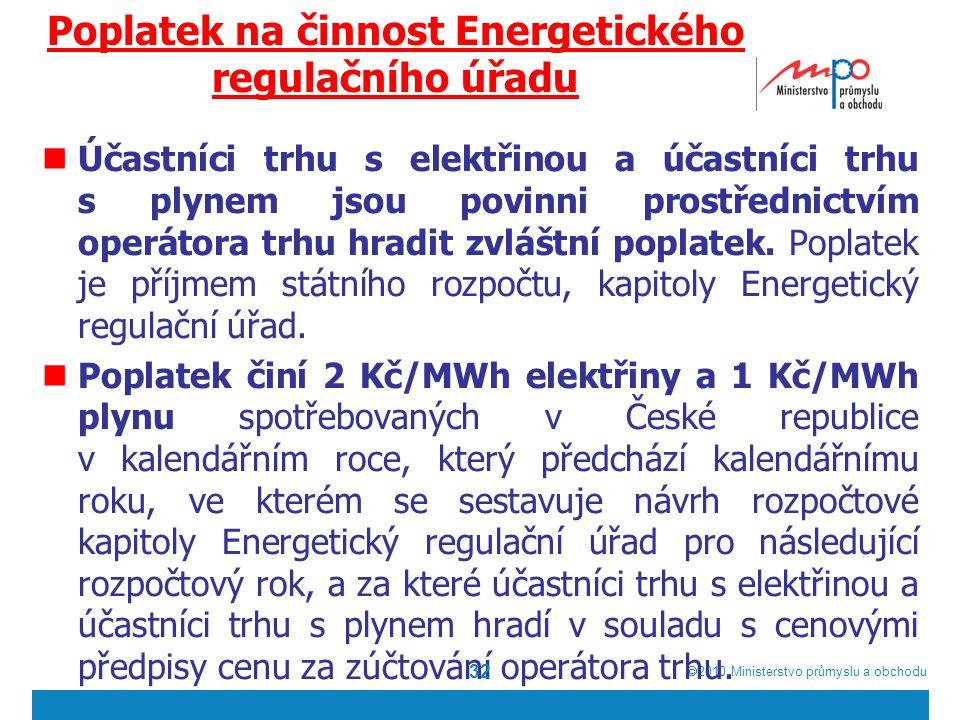  2010  Ministerstvo průmyslu a obchodu Poplatek na činnost Energetického regulačního úřadu Účastníci trhu s elektřinou a účastníci trhu s plynem jsou povinni prostřednictvím operátora trhu hradit zvláštní poplatek.