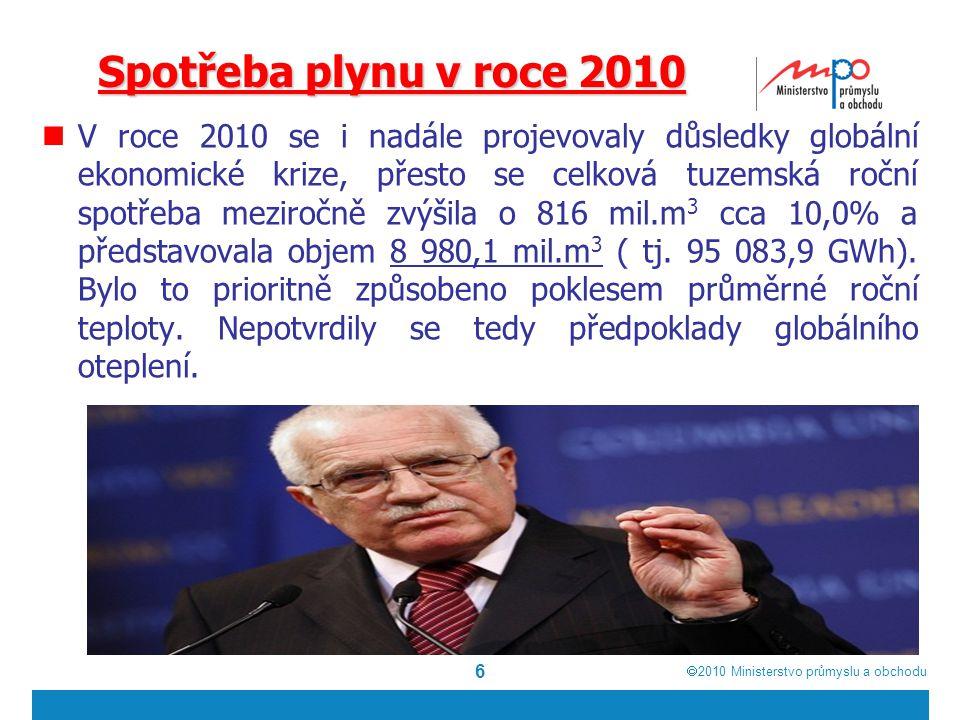  2010  Ministerstvo průmyslu a obchodu 6 Spotřeba plynu v roce 2010 V roce 2010 se i nadále projevovaly důsledky globální ekonomické krize, přesto