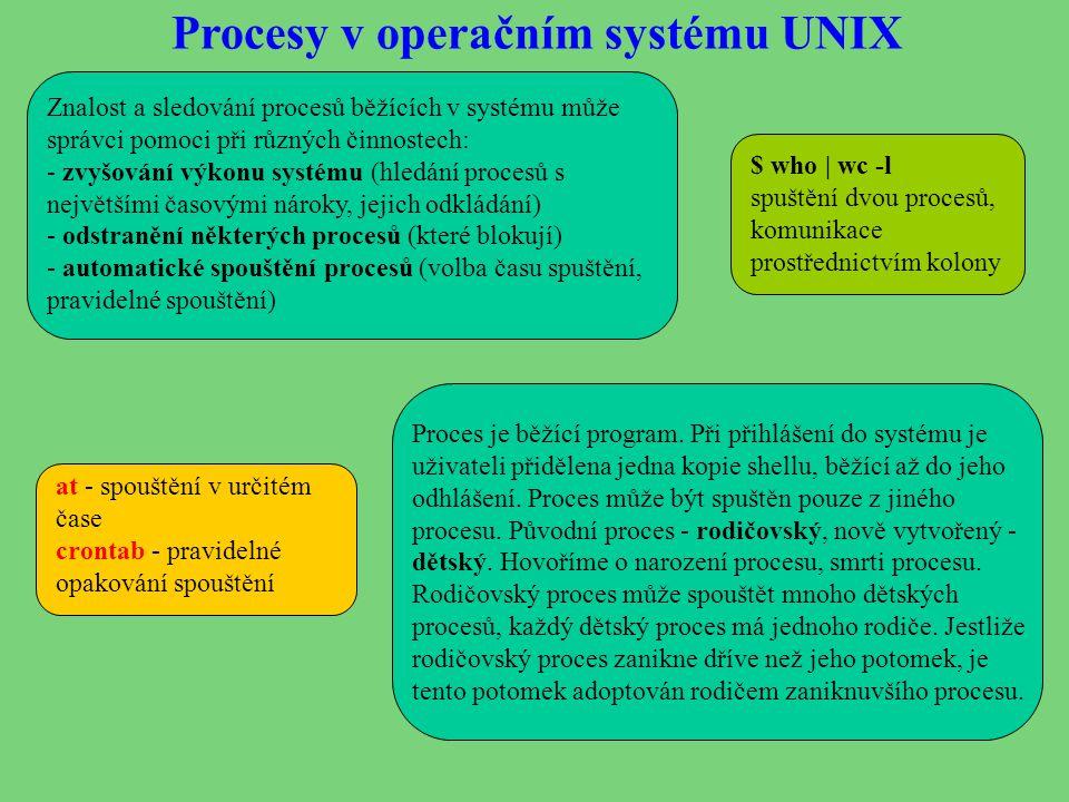 Procesy v operačním systému UNIX Znalost a sledování procesů běžících v systému může správci pomoci při různých činnostech: - zvyšování výkonu systému (hledání procesů s největšími časovými nároky, jejich odkládání) - odstranění některých procesů (které blokují) - automatické spouštění procesů (volba času spuštění, pravidelné spouštění) Proces je běžící program.