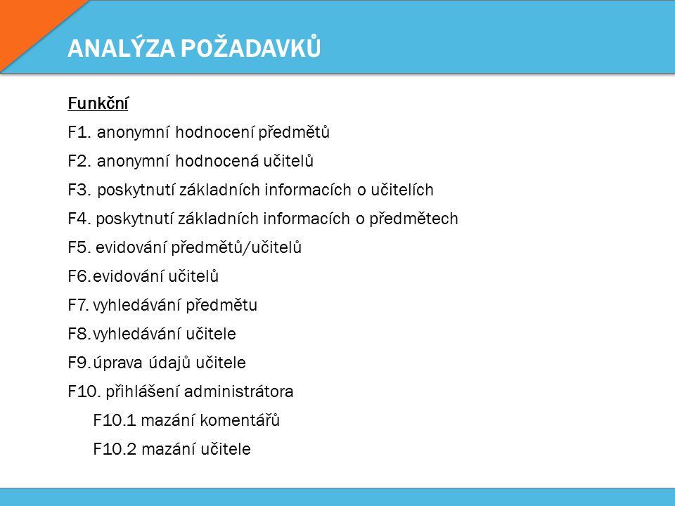 ANALÝZA POŽADAVKŮ Funkční F1. anonymní hodnocení předmětů F2.