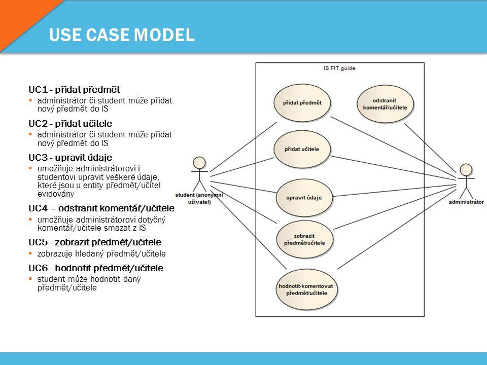 USE CASE MODEL UC1 - přidat předmět  administrátor či student může přidat nový předmět do IS UC2 - přidat učitele  administrátor či student může přidat nový předmět do IS UC3 - upravit údaje  umožňuje administrátorovi i studentovi upravit veškeré údaje, které jsou u entity předmět/učitel evidovány UC4 – odstranit komentář/učitele  umožňuje administrátorovi dotyčný komentář/učitele smazat z IS UC5 - zobrazit předmět/učitele  zobrazuje hledaný předmět/učitele UC6 - hodnotit předmět/učitele  student může hodnotit daný předmět/učitele