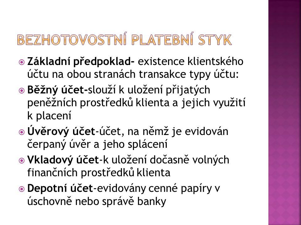  Základní předpoklad- existence klientského účtu na obou stranách transakce typy účtu:  Běžný účet-slouží k uložení přijatých peněžních prostředků k