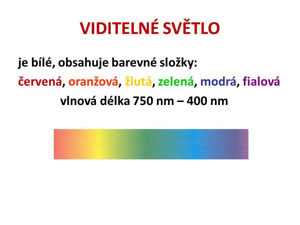 VIDITELNÉ SVĚTLO je bílé, obsahuje barevné složky: červená, oranžová, žlutá, zelená, modrá, fialová vlnová délka 750 nm – 400 nm