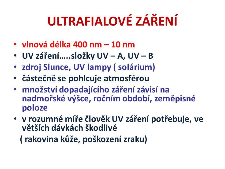 ULTRAFIALOVÉ ZÁŘENÍ vlnová délka 400 nm – 10 nm UV záření…..složky UV – A, UV – B zdroj Slunce, UV lampy ( solárium) částečně se pohlcuje atmosférou množství dopadajícího záření závisí na nadmořské výšce, ročním období, zeměpisné poloze v rozumné míře člověk UV záření potřebuje, ve větších dávkách škodlivé ( rakovina kůže, poškození zraku)