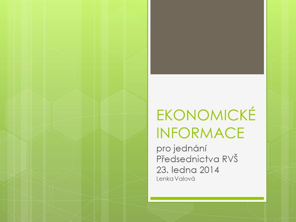 EKONOMICKÉ INFORMACE pro jednání Předsednictva RVŠ 23. ledna 2014 Lenka Valová