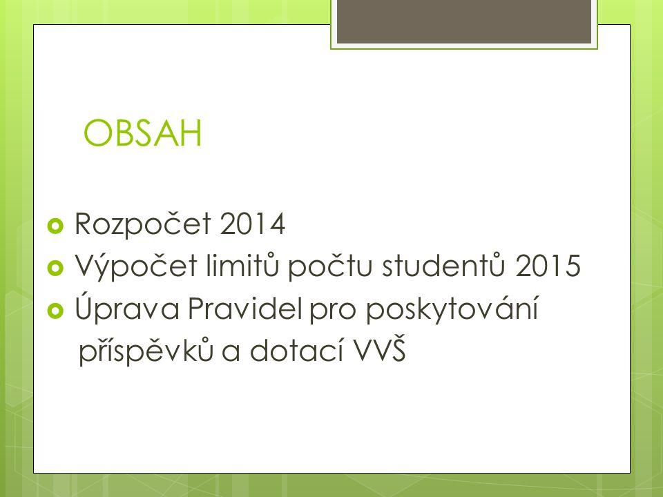 OBSAH  Rozpočet 2014  Výpočet limitů počtu studentů 2015  Úprava Pravidel pro poskytování příspěvků a dotací VVŠ